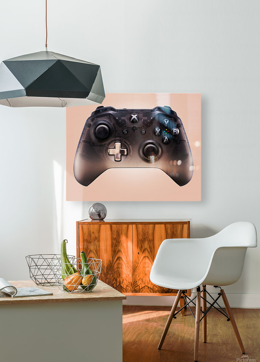 Gaming Controller v3  HD Metal print with Floating Frame on Back