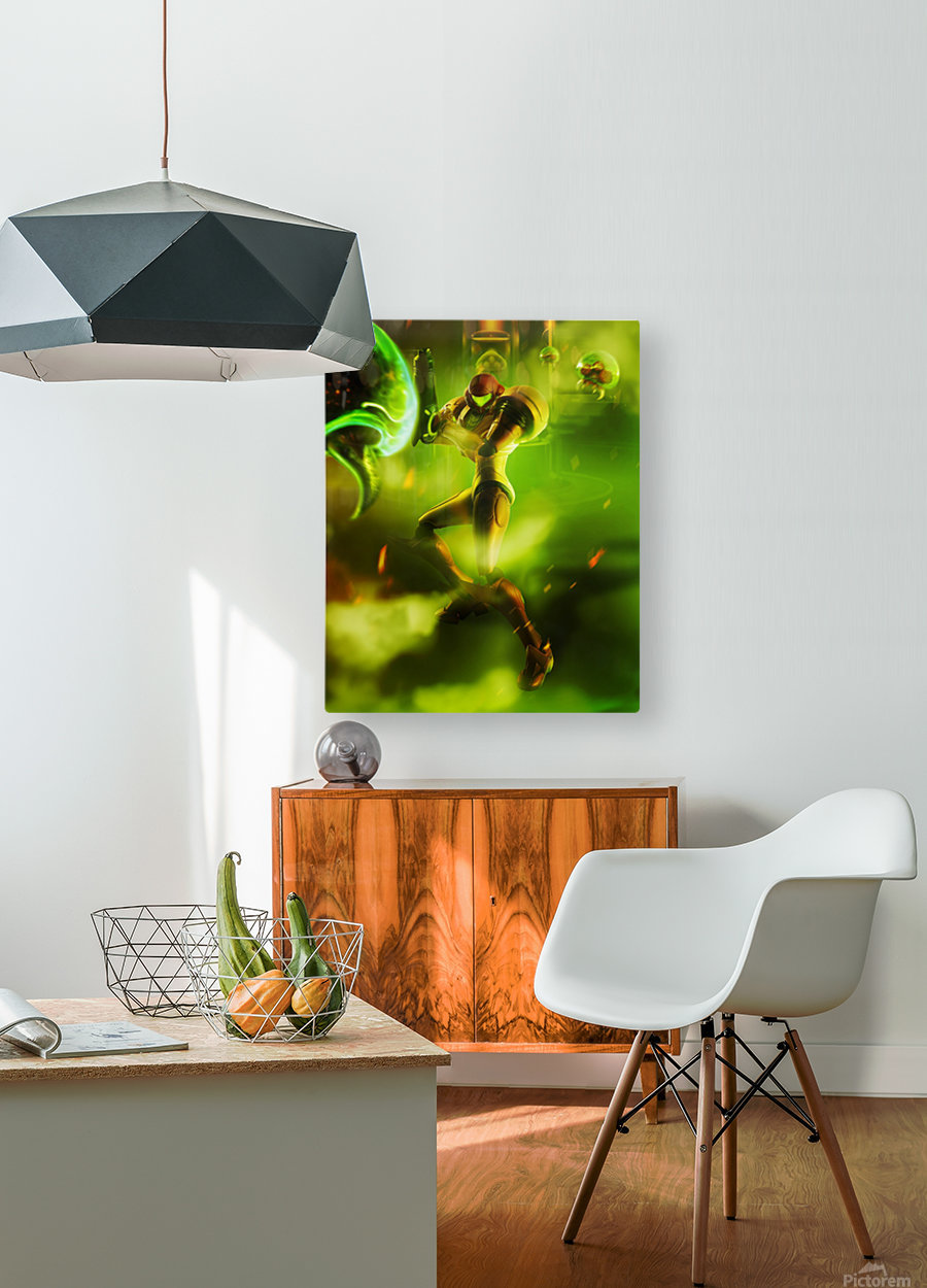 Samus Aran Super Metroid  HD Metal print with Floating Frame on Back