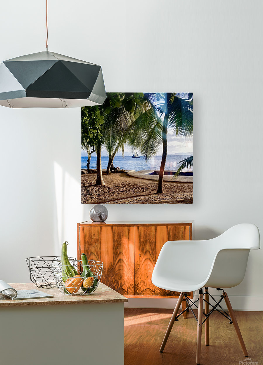 Sailboat And Palms  HD Metal print with Floating Frame on Back