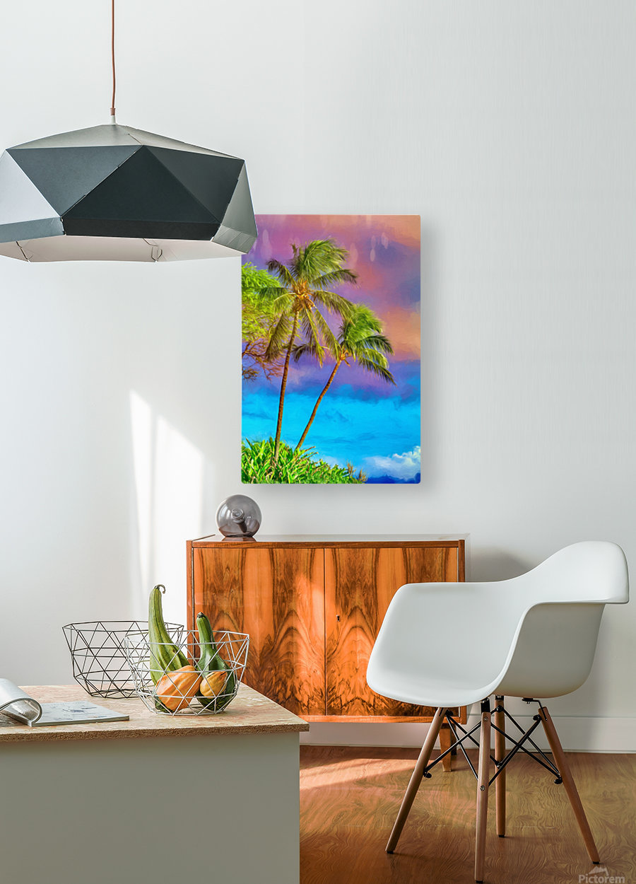 Palms Against The Sky  HD Metal print with Floating Frame on Back