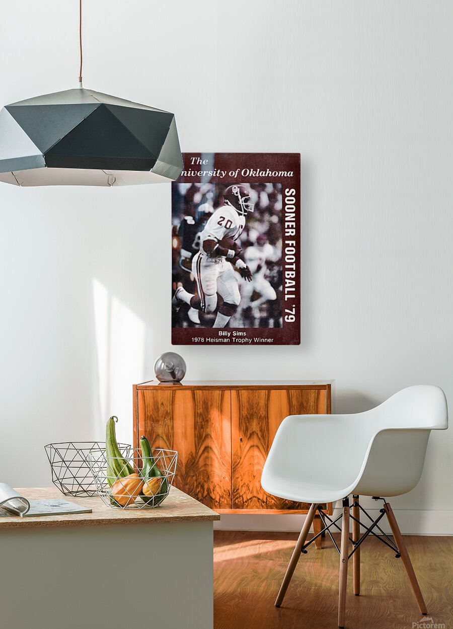 1979 billy sims oklahoma sooners football poster  HD Metal print with Floating Frame on Back