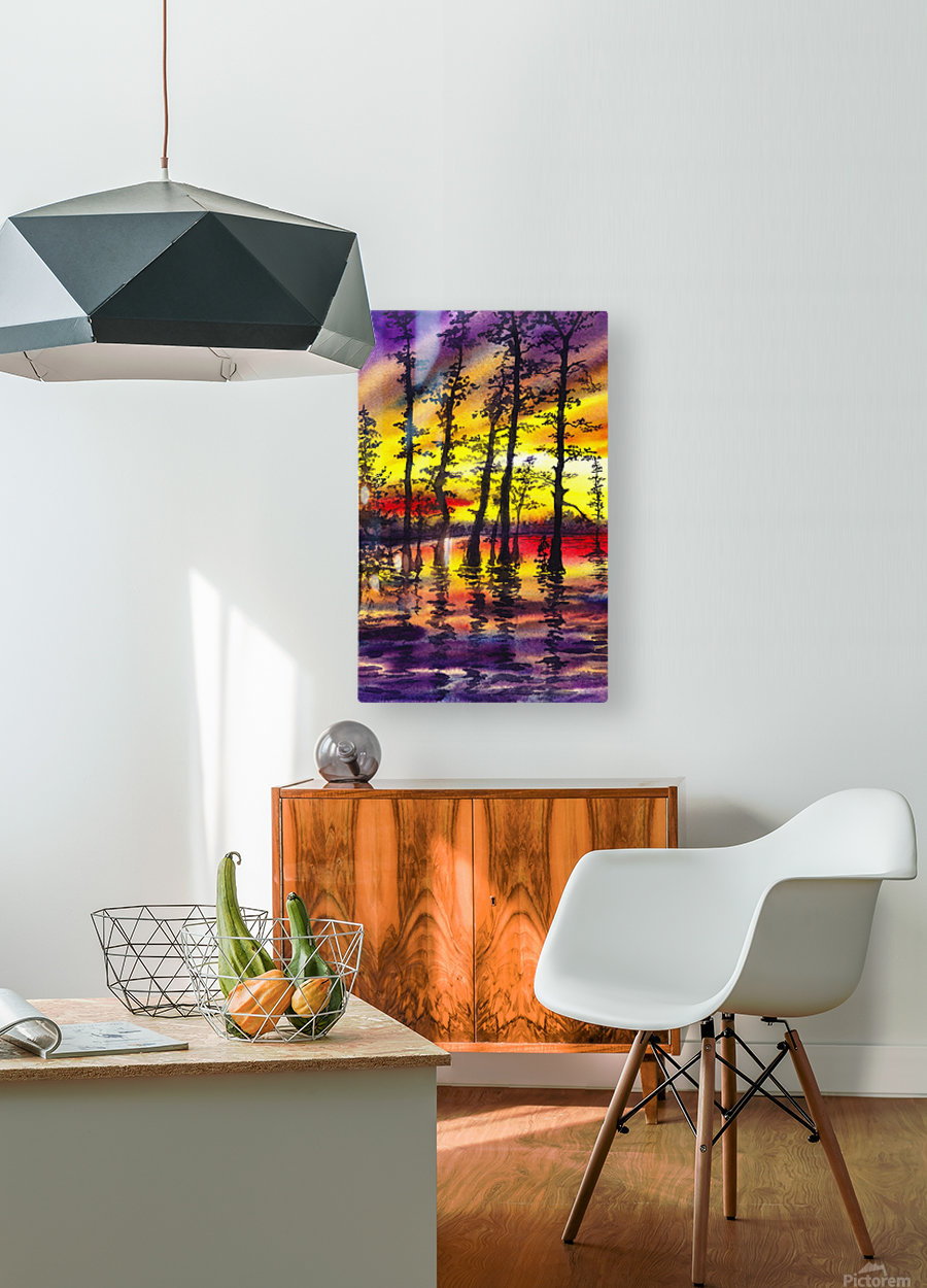 Bright Sunset Through The Trees  HD Metal print with Floating Frame on Back