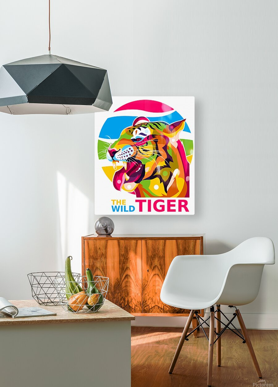 The Wild Tiger  HD Metal print with Floating Frame on Back