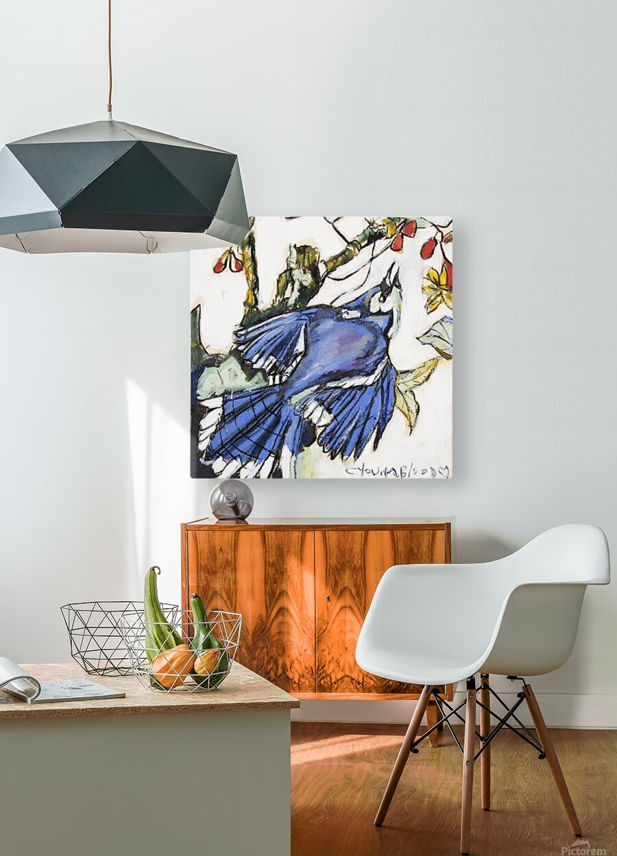 Louisiana Blue Jay Study on Wood  HD Metal print with Floating Frame on Back