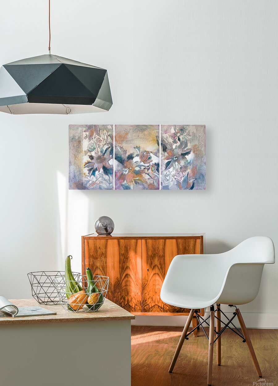 Riverton Wallpaper Tracings Triptych  HD Metal print with Floating Frame on Back