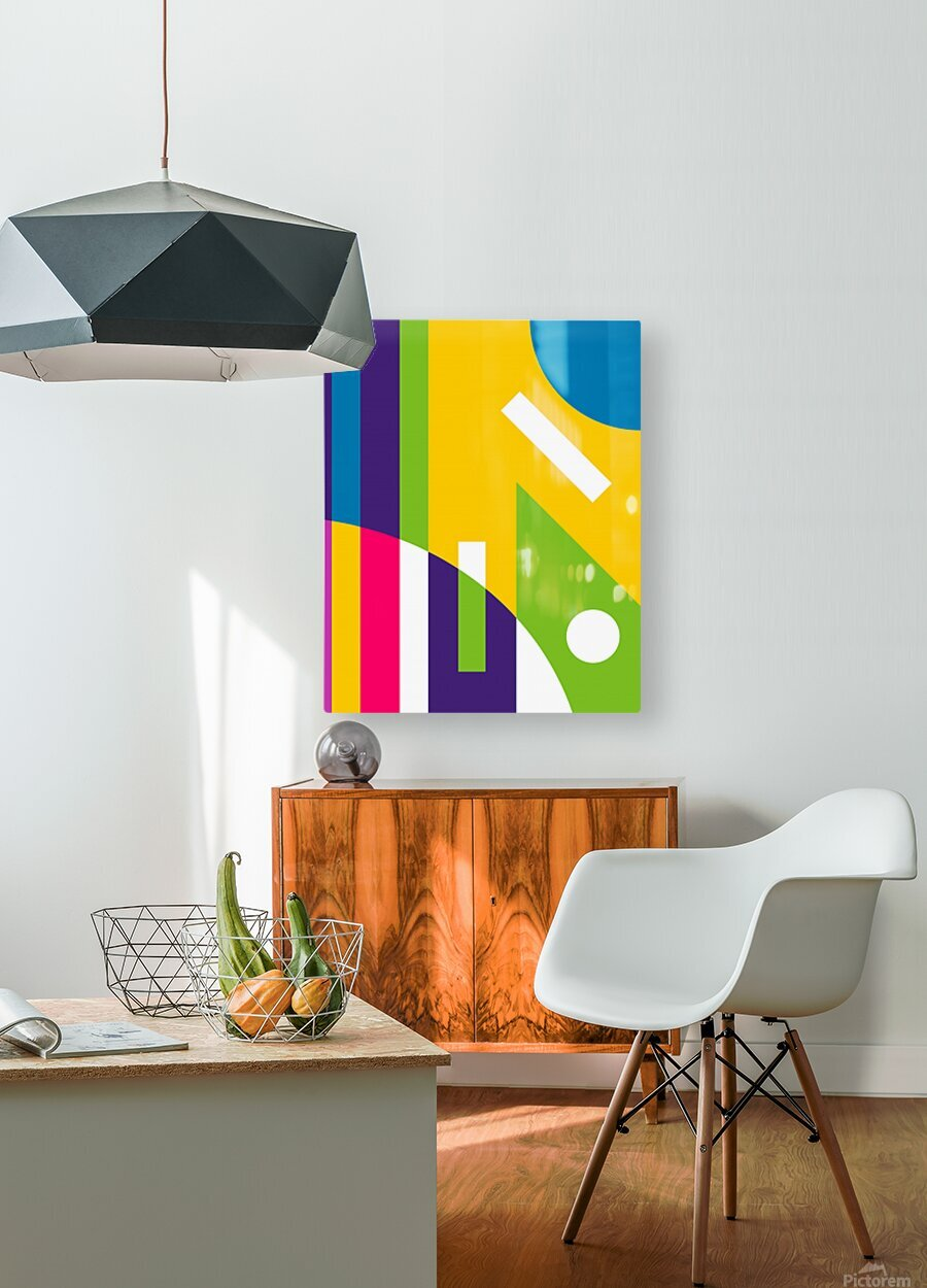 2 White Lines in Abstract Background  HD Metal print with Floating Frame on Back
