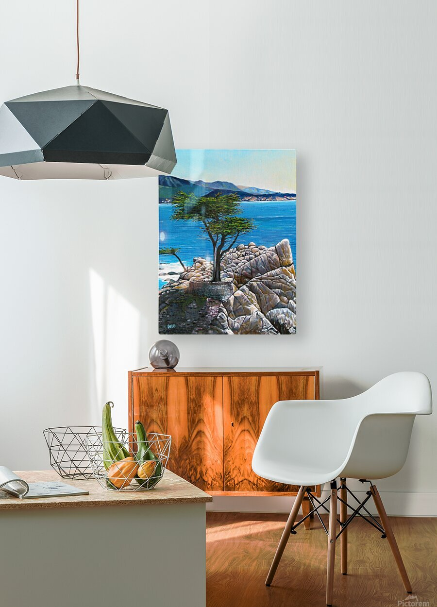 Lone Tree at Pebble Beach  HD Metal print with Floating Frame on Back