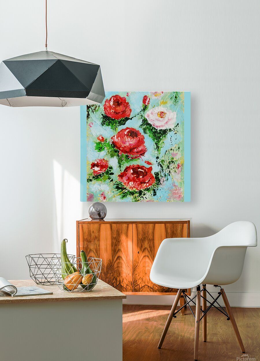 Roses on Aqua  HD Metal print with Floating Frame on Back