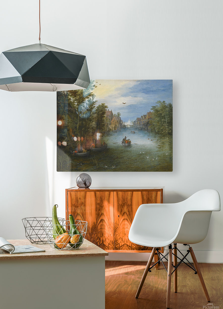 Boats by the river  HD Metal print with Floating Frame on Back