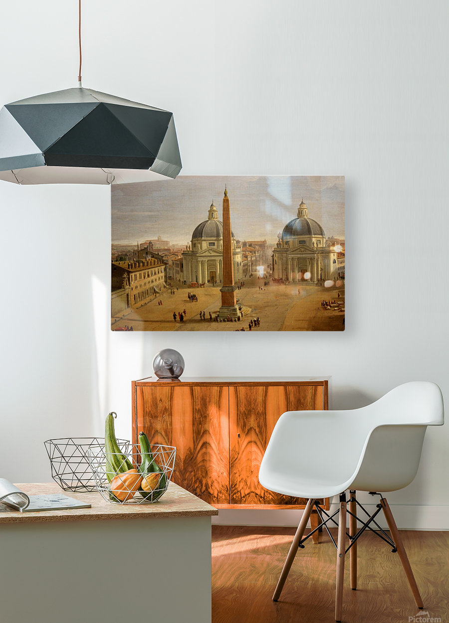 Veduta di Piazza del Popolo a Roma  HD Metal print with Floating Frame on Back