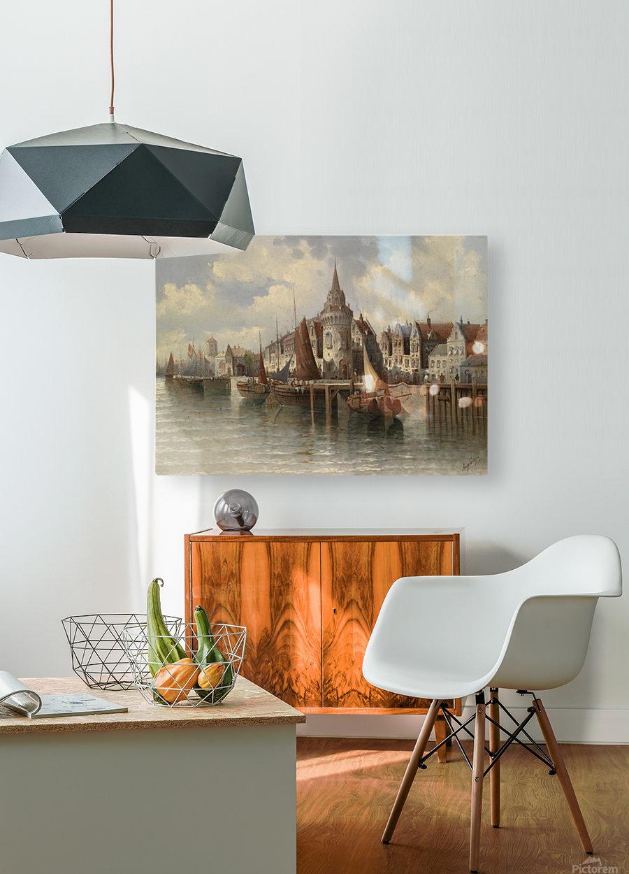 Blick auf eine Hafenstadt  HD Metal print with Floating Frame on Back