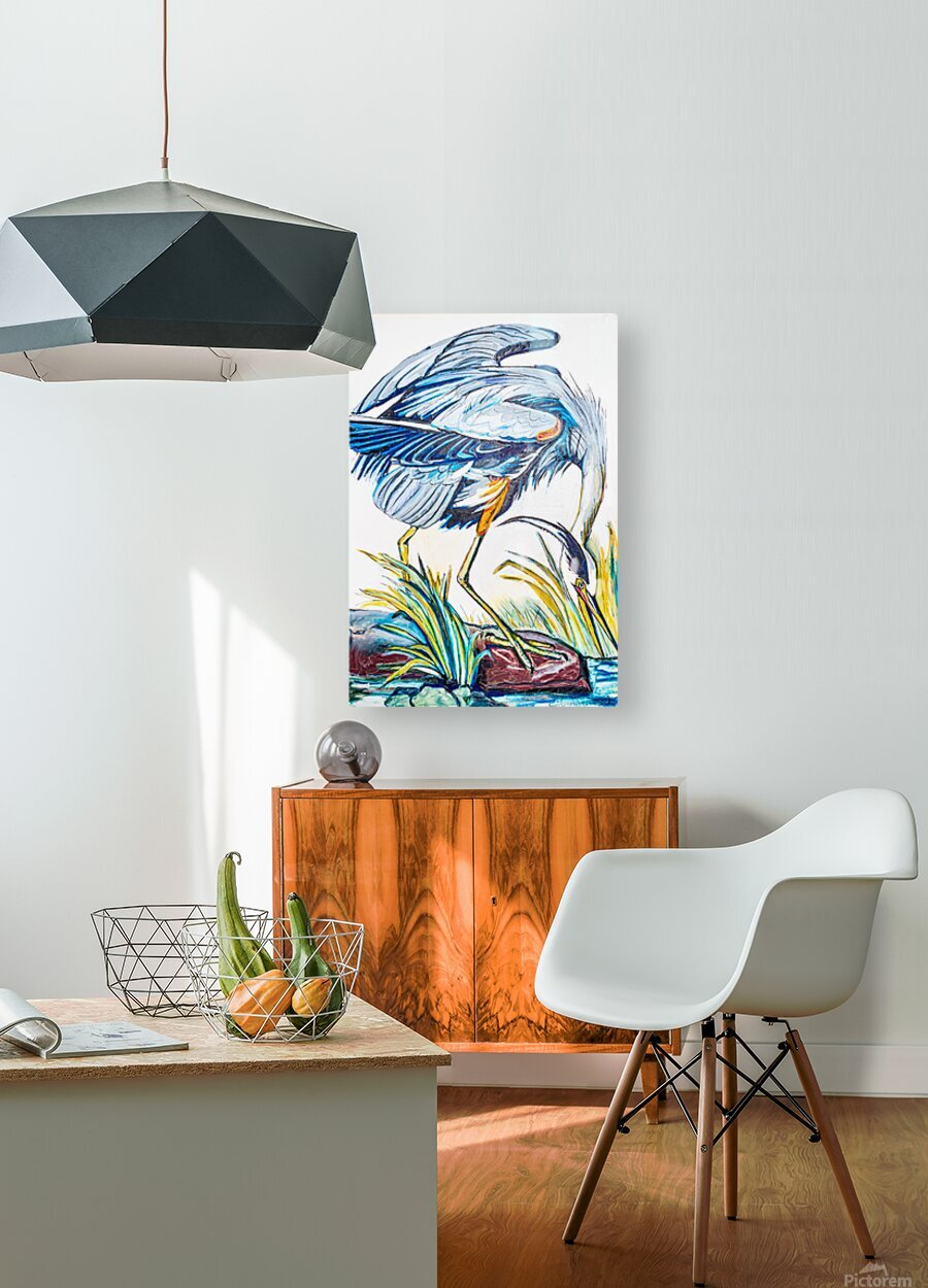 Louisiana Blue Heron Catching Fish- Bright  HD Metal print with Floating Frame on Back