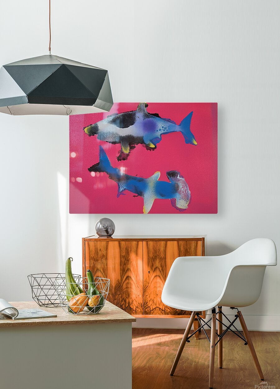 TWO HUNGRY SHARKS  HD Metal print with Floating Frame on Back