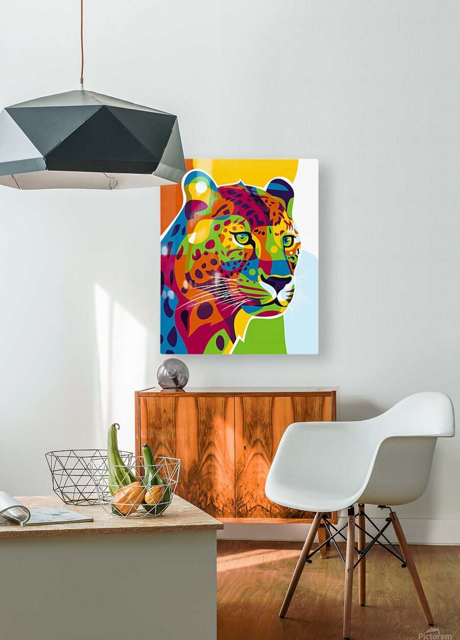 The Colorful Leopard  HD Metal print with Floating Frame on Back