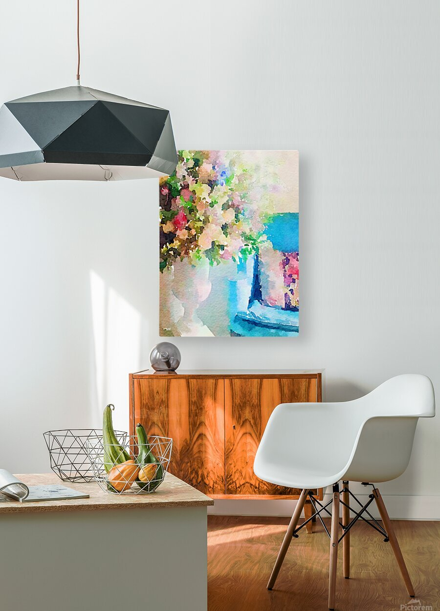 Blue chair  HD Metal print with Floating Frame on Back