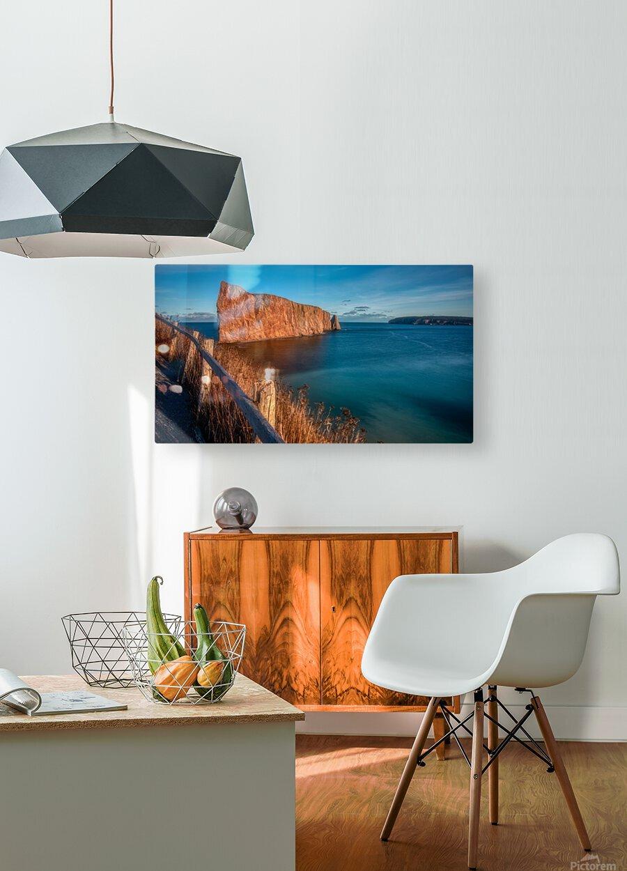 Lumiere sur le Rocher Perce  Impression métal HD avec cadre flottant sur le dos