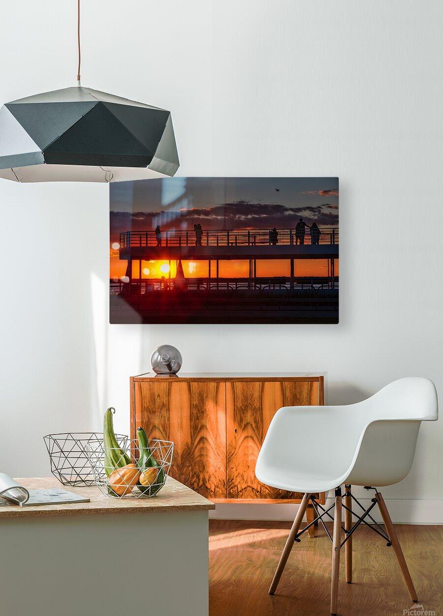Coucher de  soleil sur Rimouski  Impression métal HD avec cadre flottant sur le dos