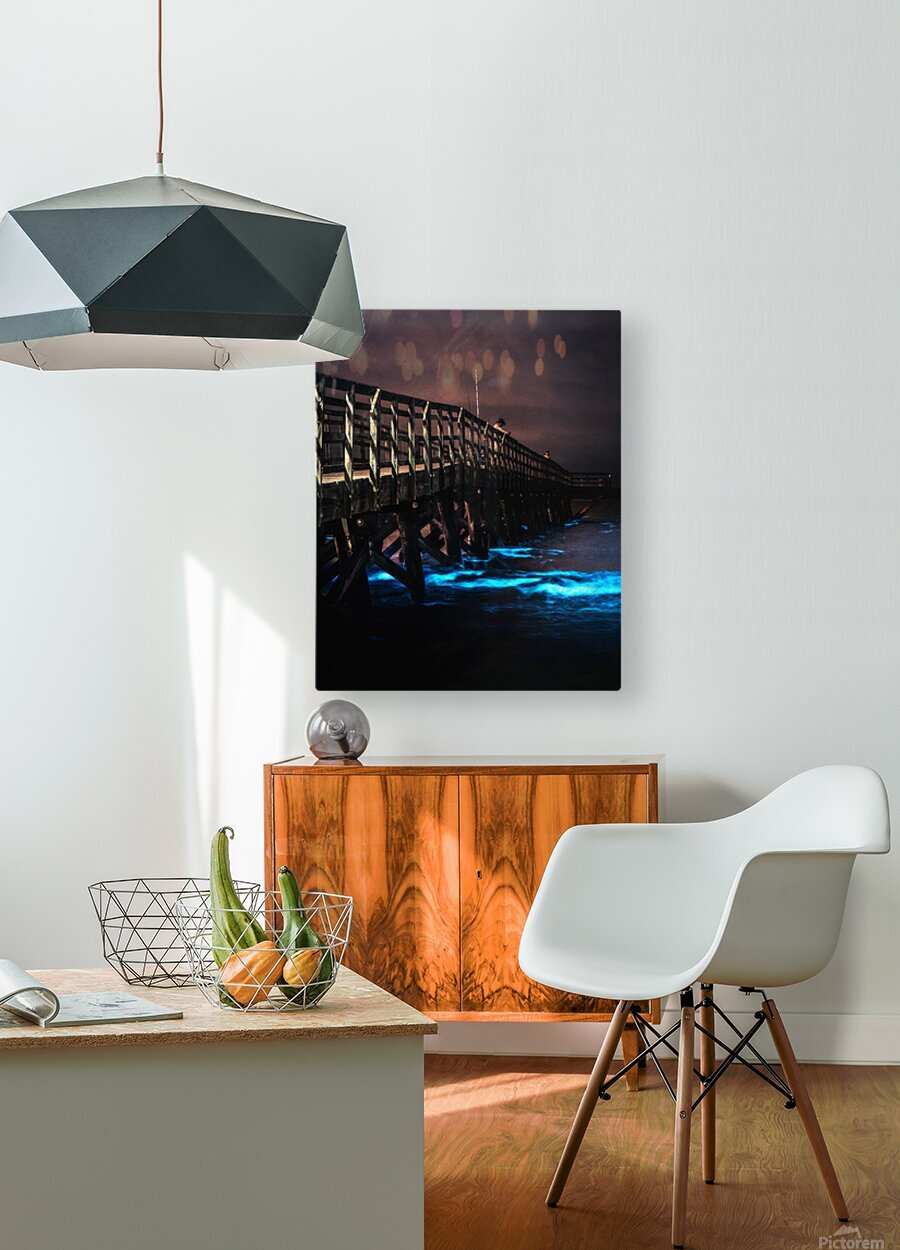 Bioluminescence - Yorktown Beach  HD Metal print with Floating Frame on Back