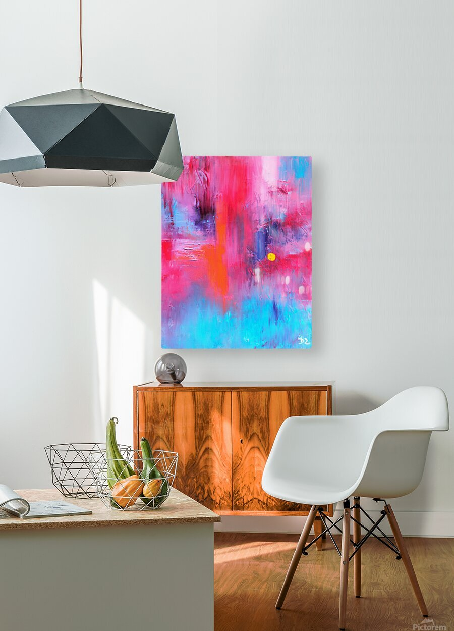 Red and blue  HD Metal print with Floating Frame on Back