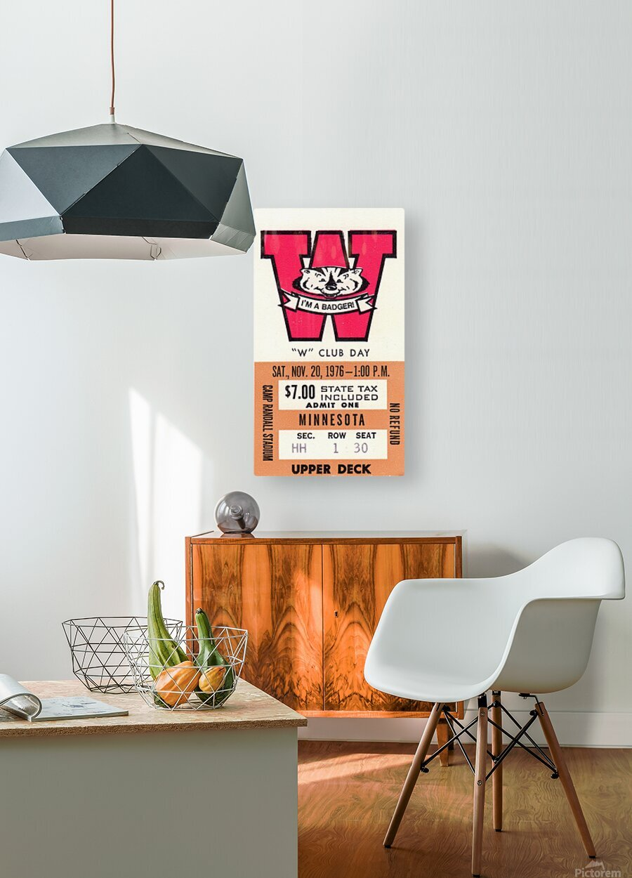 1976 Wisconsin vs. Minnesota  HD Metal print with Floating Frame on Back