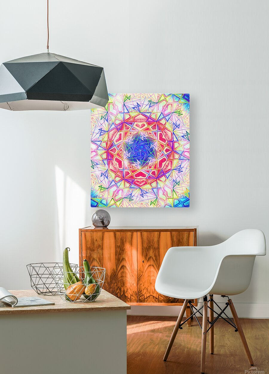 Psychedelic Art Hexagon Mandala Handdrawing  HD Metal print with Floating Frame on Back