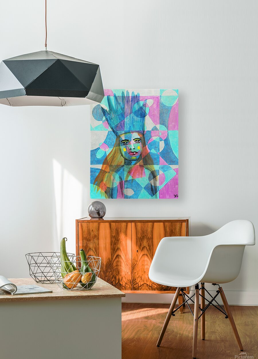 Woman in blue-5  HD Metal print with Floating Frame on Back