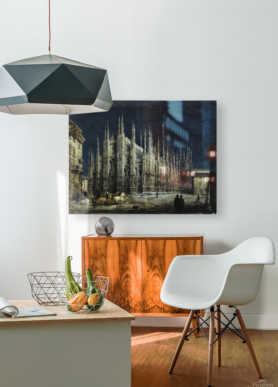 Notturno di Piazza del Duomo a Milano  HD Metal print with Floating Frame on Back