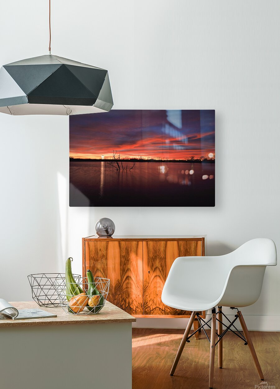 Lake Wellington Sunset  HD Metal print with Floating Frame on Back