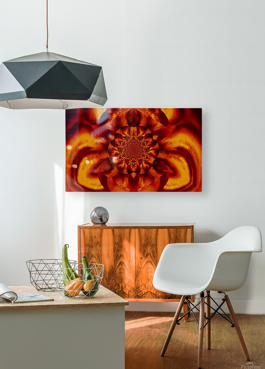Lotus in Gold Satin  HD Metal print with Floating Frame on Back