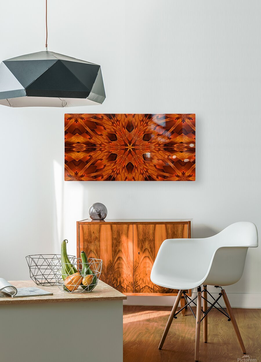Copper Lotus 2  HD Metal print with Floating Frame on Back