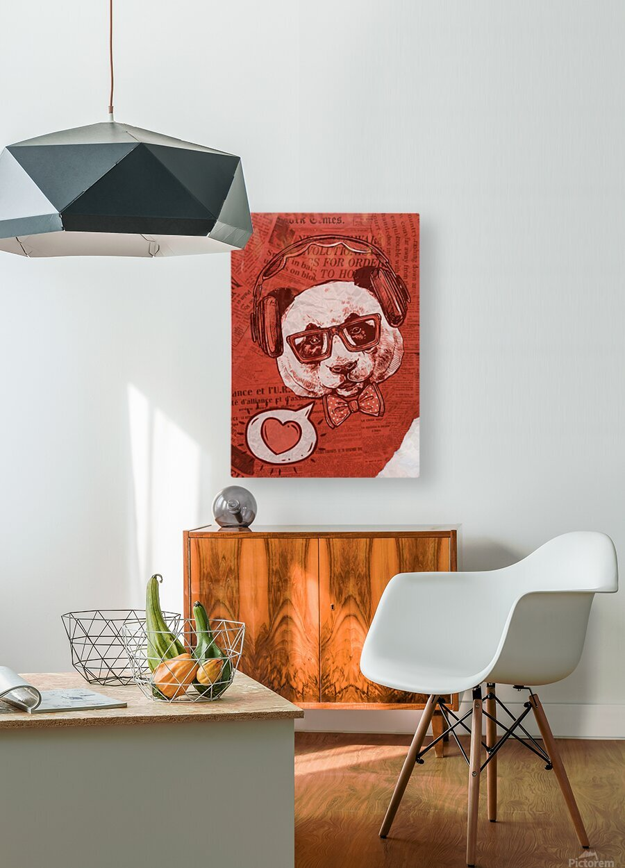 Cool Panda  HD Metal print with Floating Frame on Back