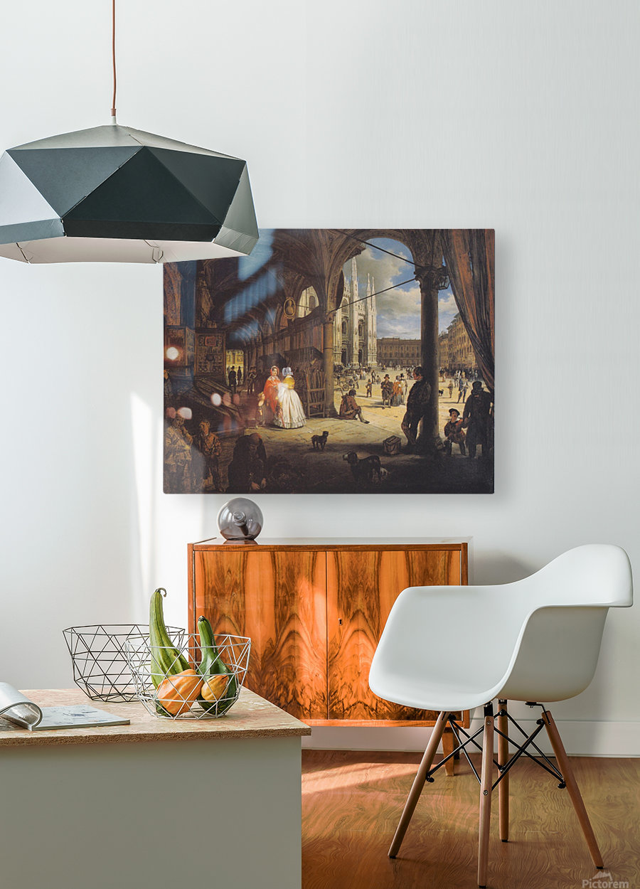 Veduta della piazza del Duomo dal Coperto dei Figini  HD Metal print with Floating Frame on Back