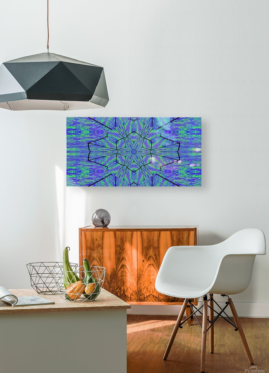Light Of The Blue Moon Lotus  HD Metal print with Floating Frame on Back