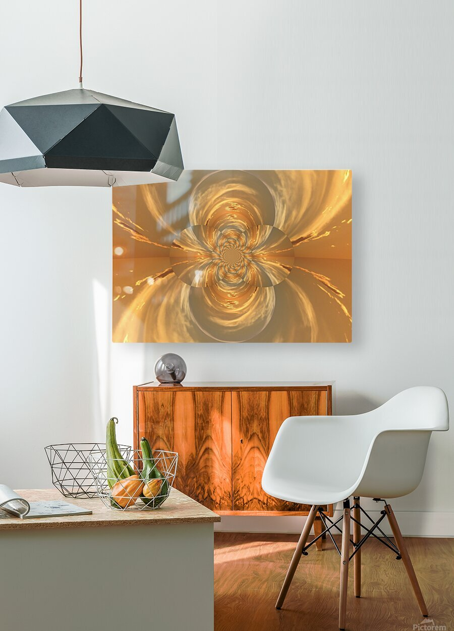 Golden Lotus   HD Metal print with Floating Frame on Back