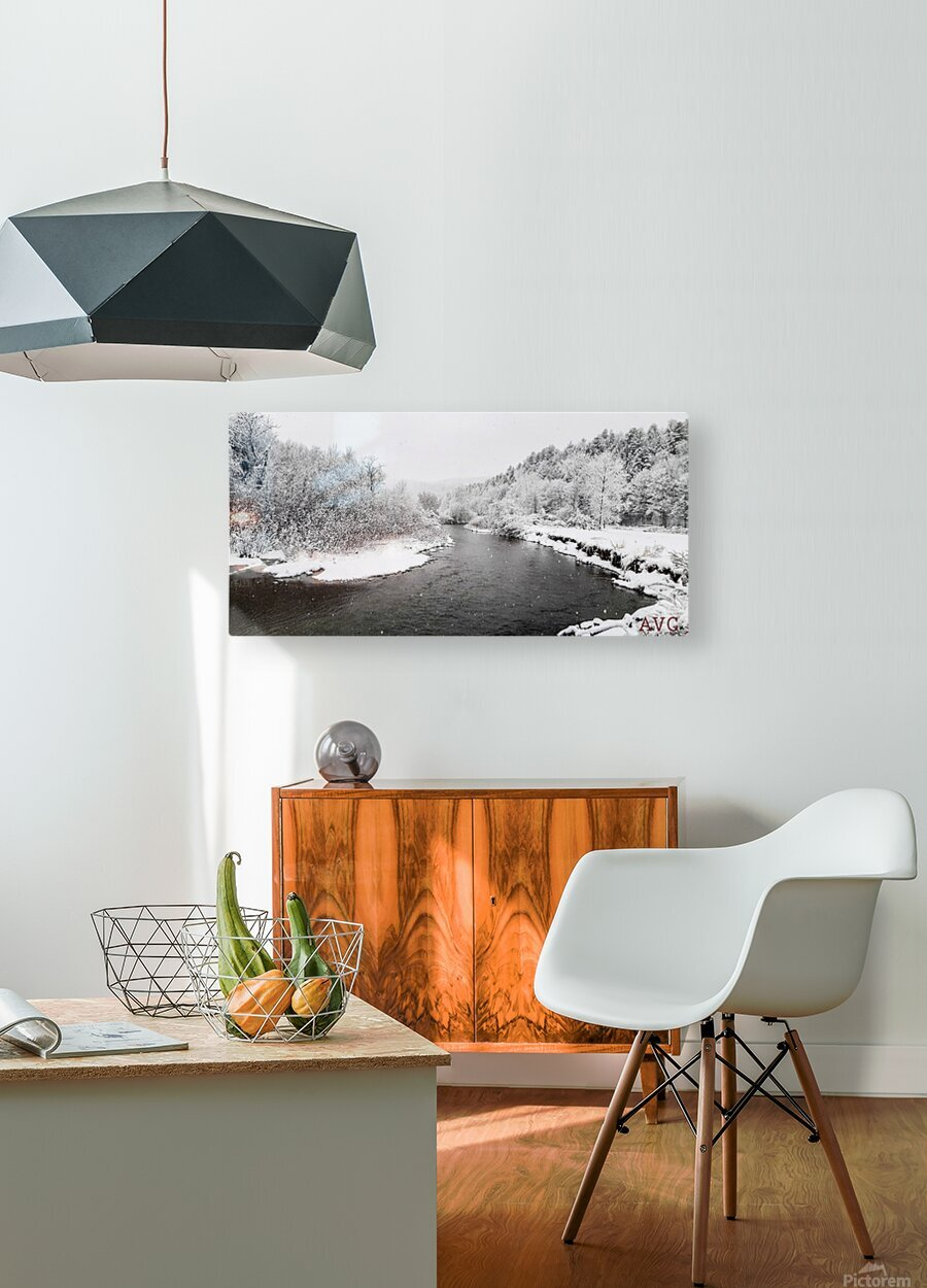 Dog River-- Winter  HD Metal print with Floating Frame on Back