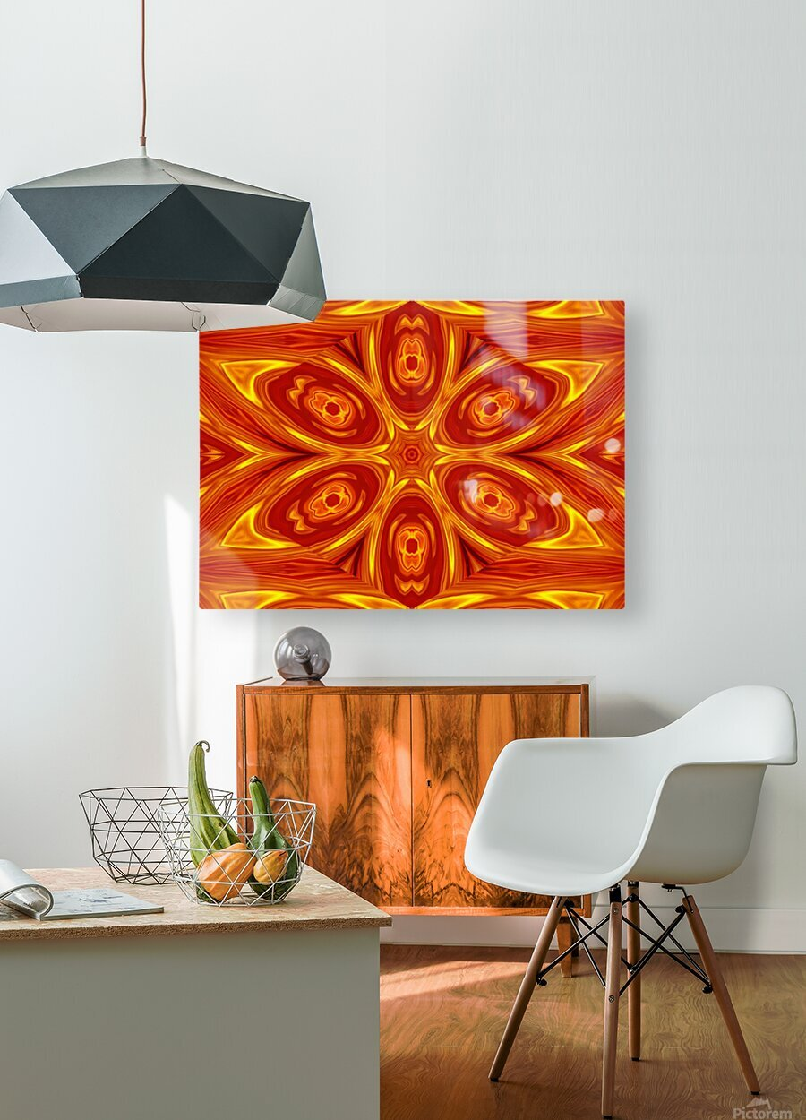 Fire Flowers 53  HD Metal print with Floating Frame on Back