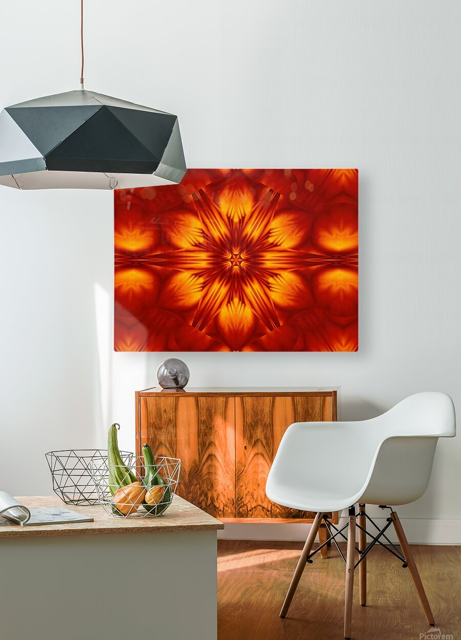 Fire Flowers 74  HD Metal print with Floating Frame on Back