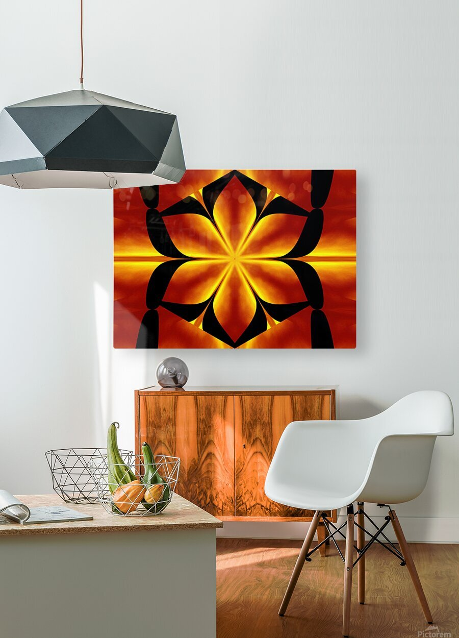 Fire Flowers 91  HD Metal print with Floating Frame on Back
