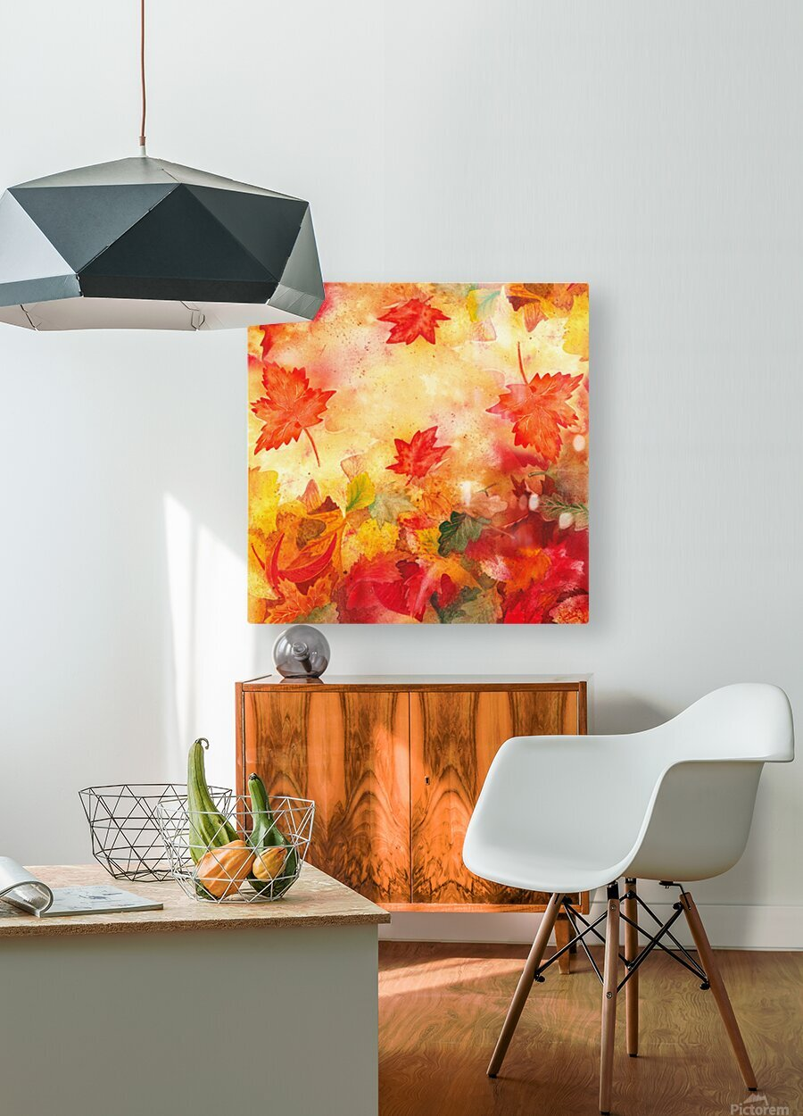 Welcome Fall Red Green Yellow Birch Oak Maple Watercolor Leaves  HD Metal print with Floating Frame on Back