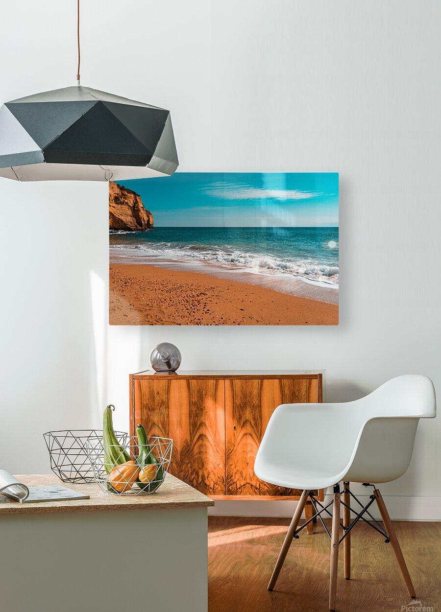Ocean Beach in Teal and Orange  HD Metal print with Floating Frame on Back