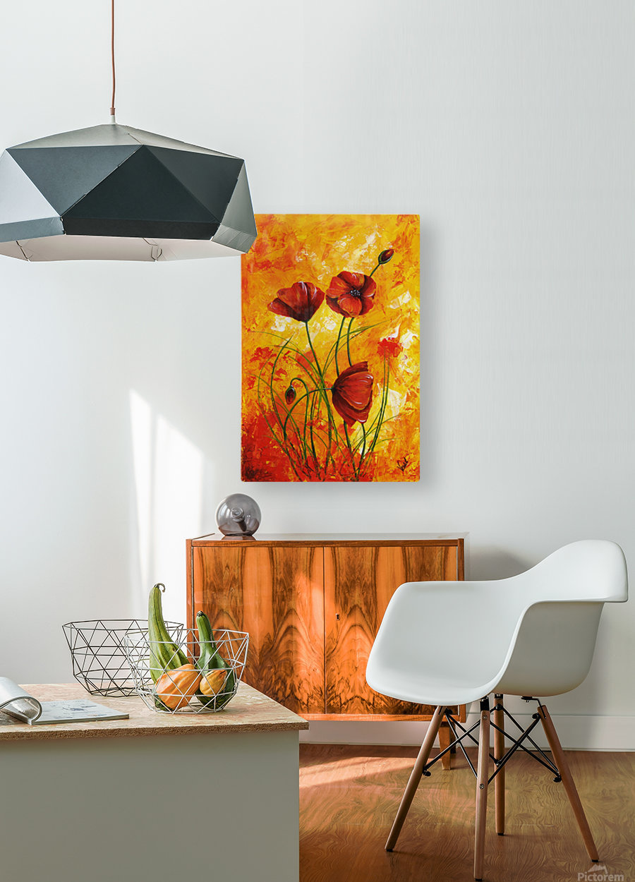 Edit Voros Red Poppies 006  HD Metal print with Floating Frame on Back