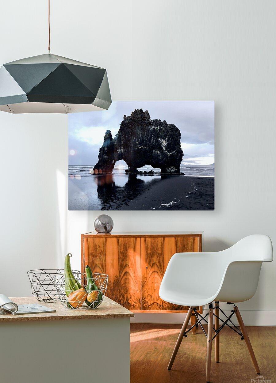 Hvitserkur  HD Metal print with Floating Frame on Back