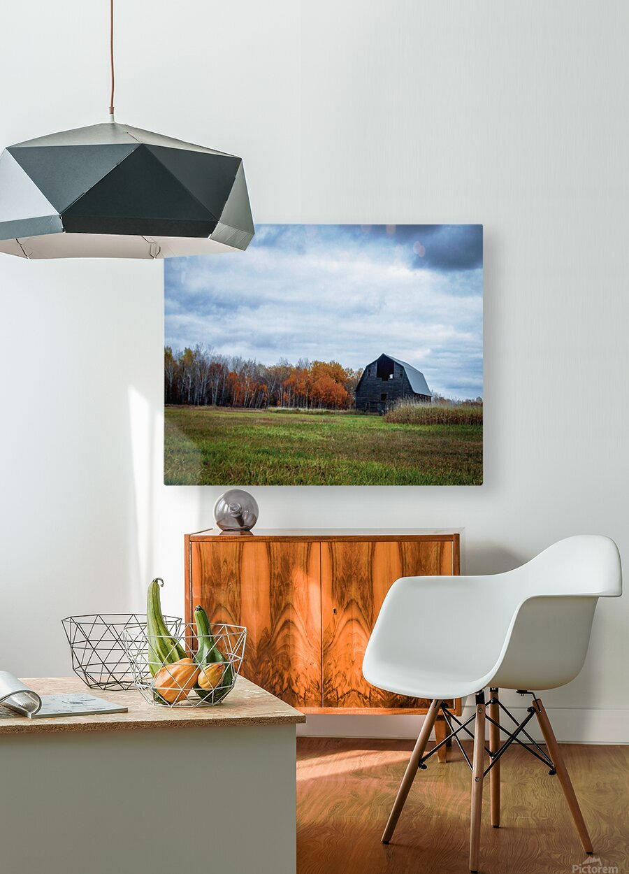 autumn barn  HD Metal print with Floating Frame on Back