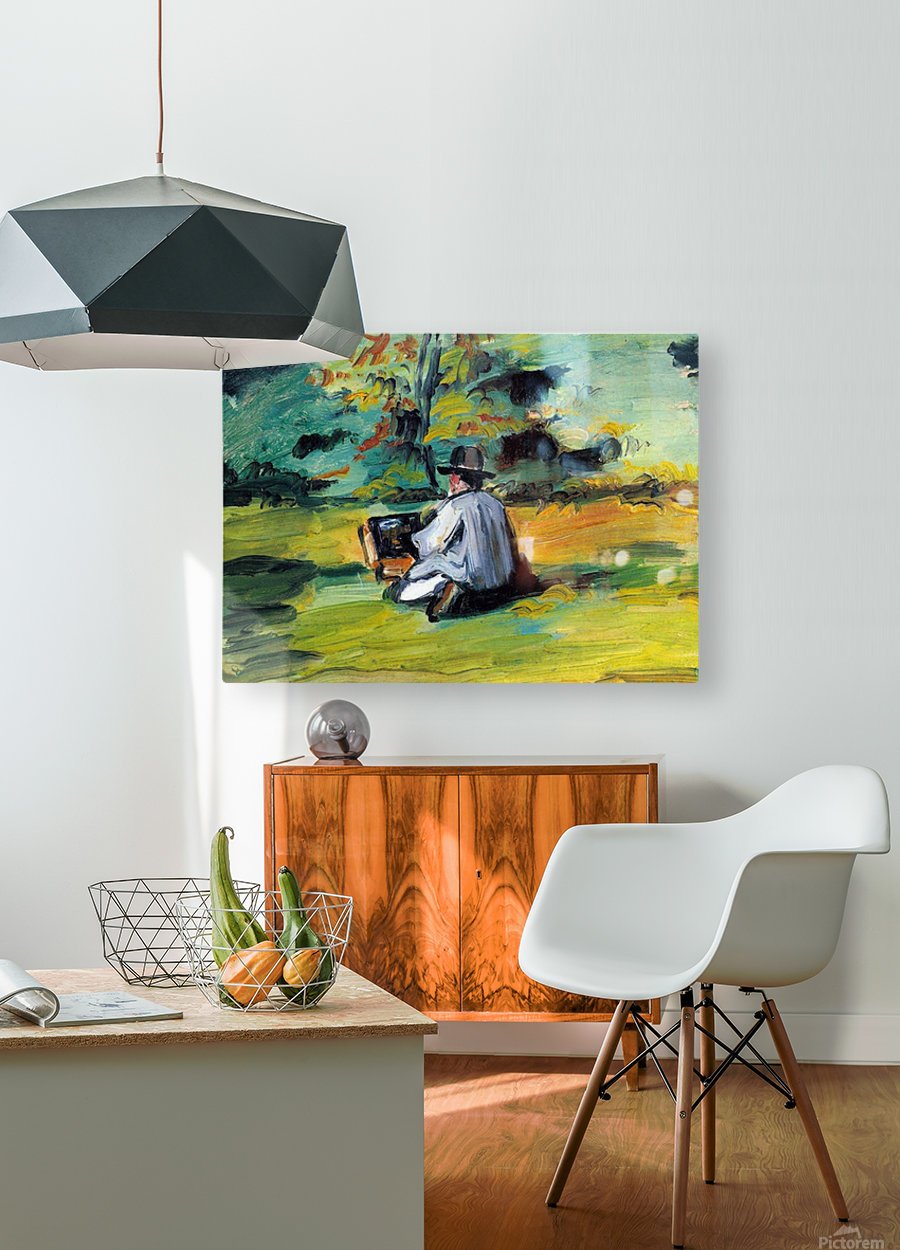 Painter at Work by Cezanne  HD Metal print with Floating Frame on Back