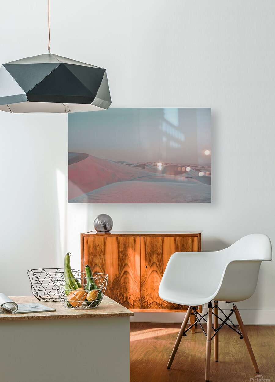 Misty Desert  HD Metal print with Floating Frame on Back