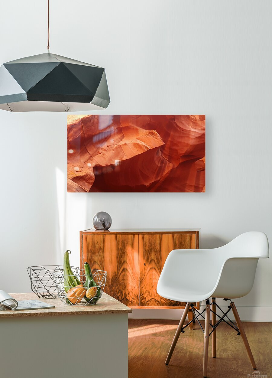 Eroded Wall of Antelope Canyon   HD Metal print with Floating Frame on Back