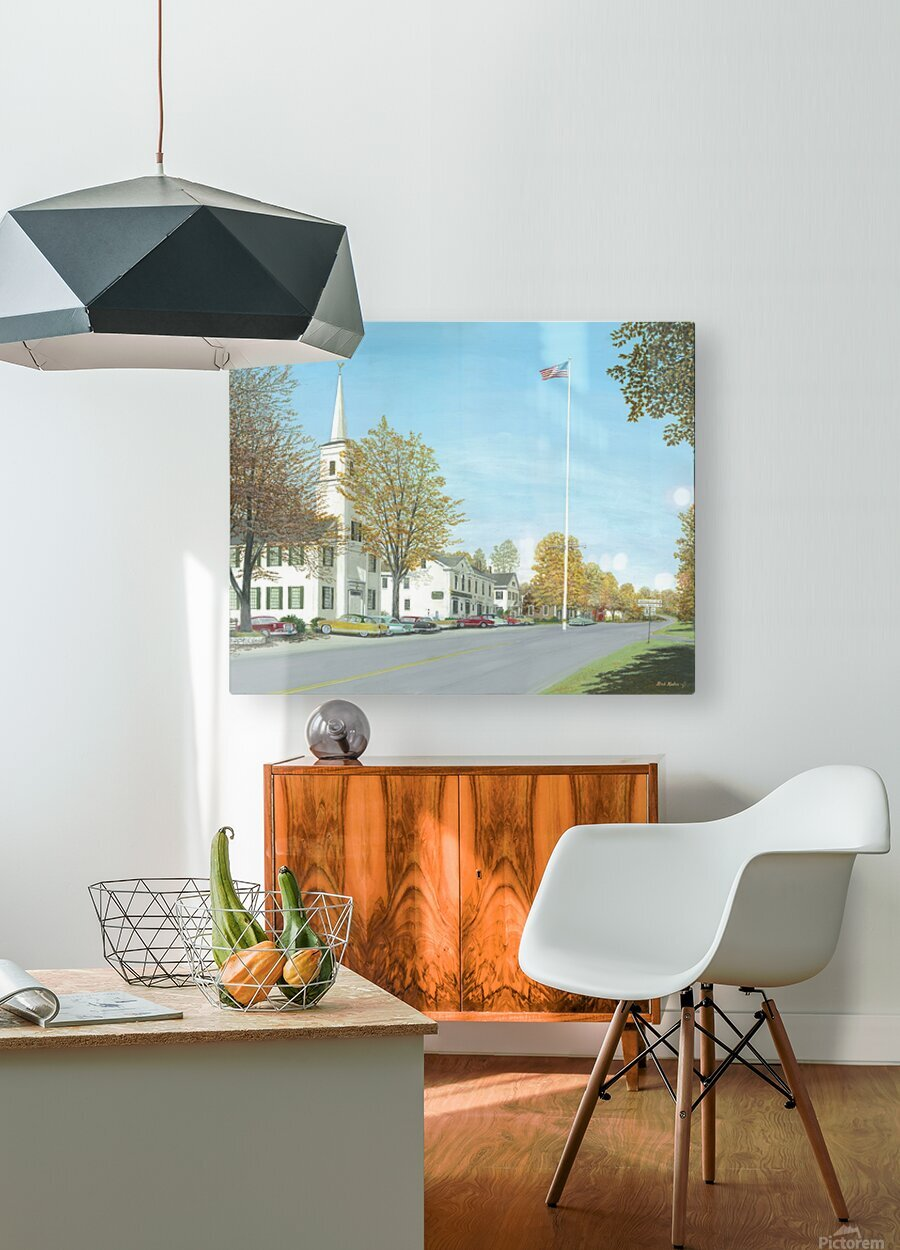 October Sunday - Newtown Scenes 24X30    HD Metal print with Floating Frame on Back