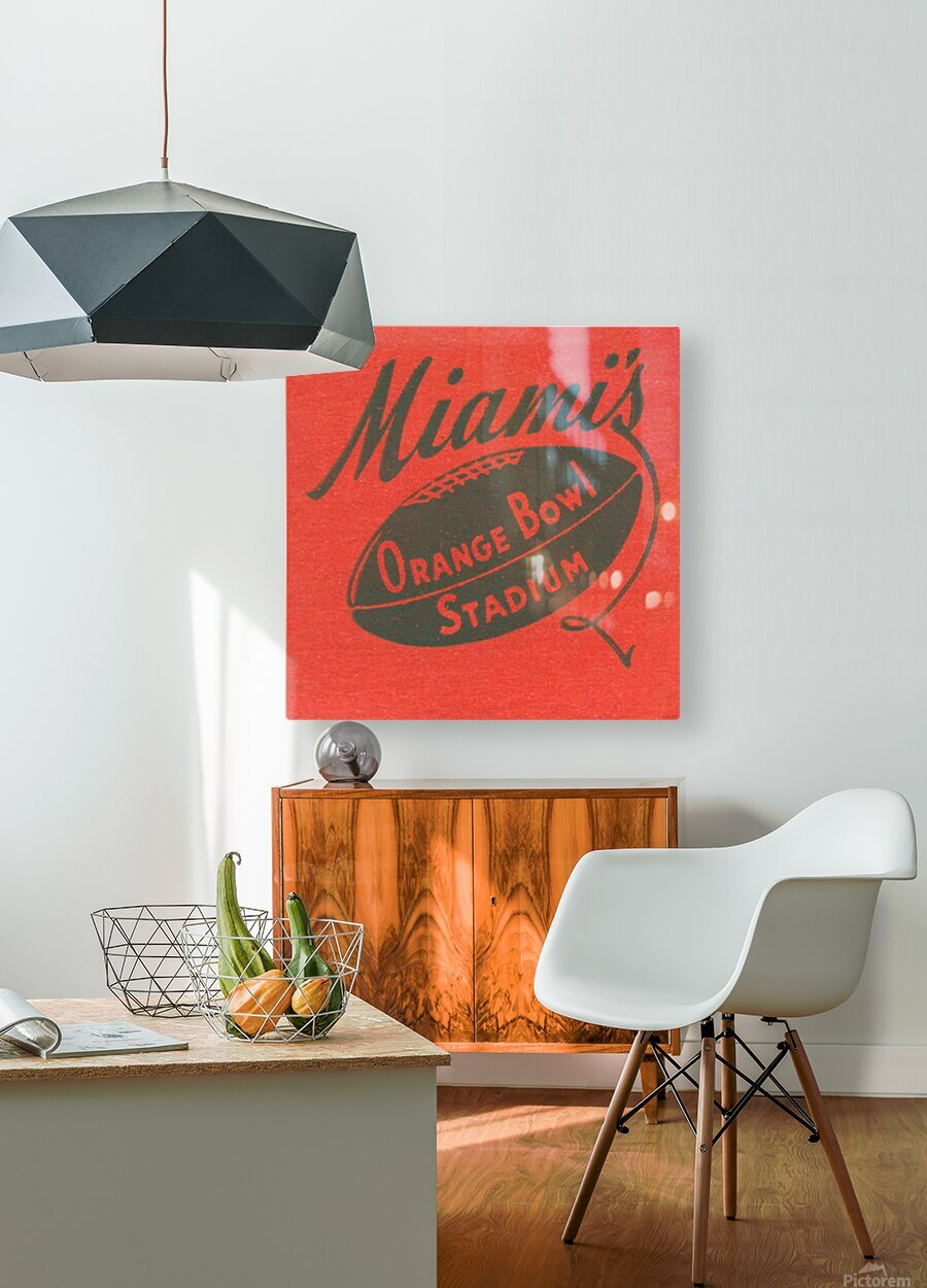 1950 Miami Orange Bowl  HD Metal print with Floating Frame on Back