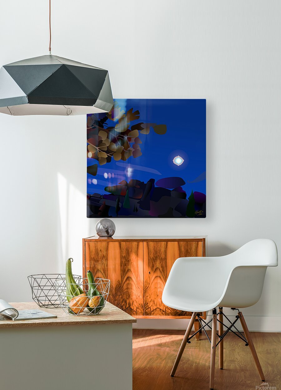Vedauwoo at Night with Headlamps  HD Metal print with Floating Frame on Back
