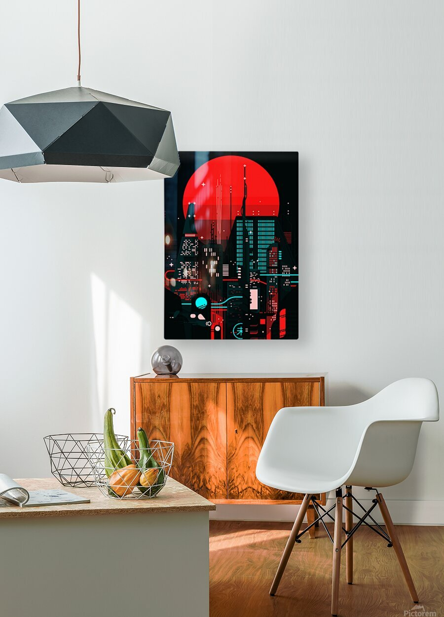 Neon City  HD Metal print with Floating Frame on Back